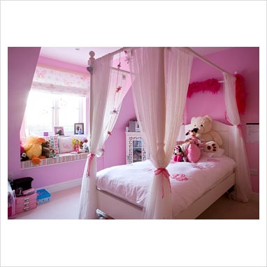 Hot Pink Full Size Canopy Top Fabric Bed Cover in Kids' Bedding