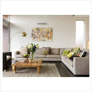 Modular sofa in contemporary living room